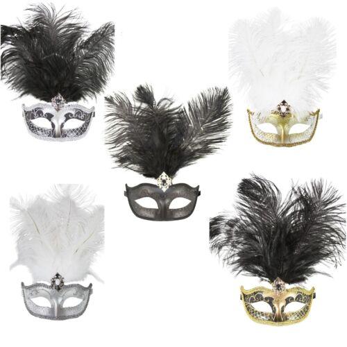 Carnival Feather Mask with Glitter Women Masquerade Prom Ball Mardi Gras Wedding