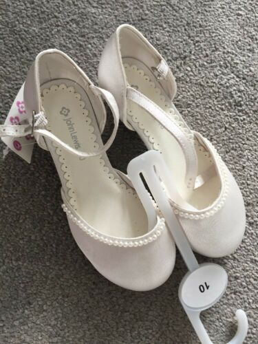 John Lewis Girls Pearl White Heeled Ivory Satin Shoes Brand New RRP £22 *Marked*