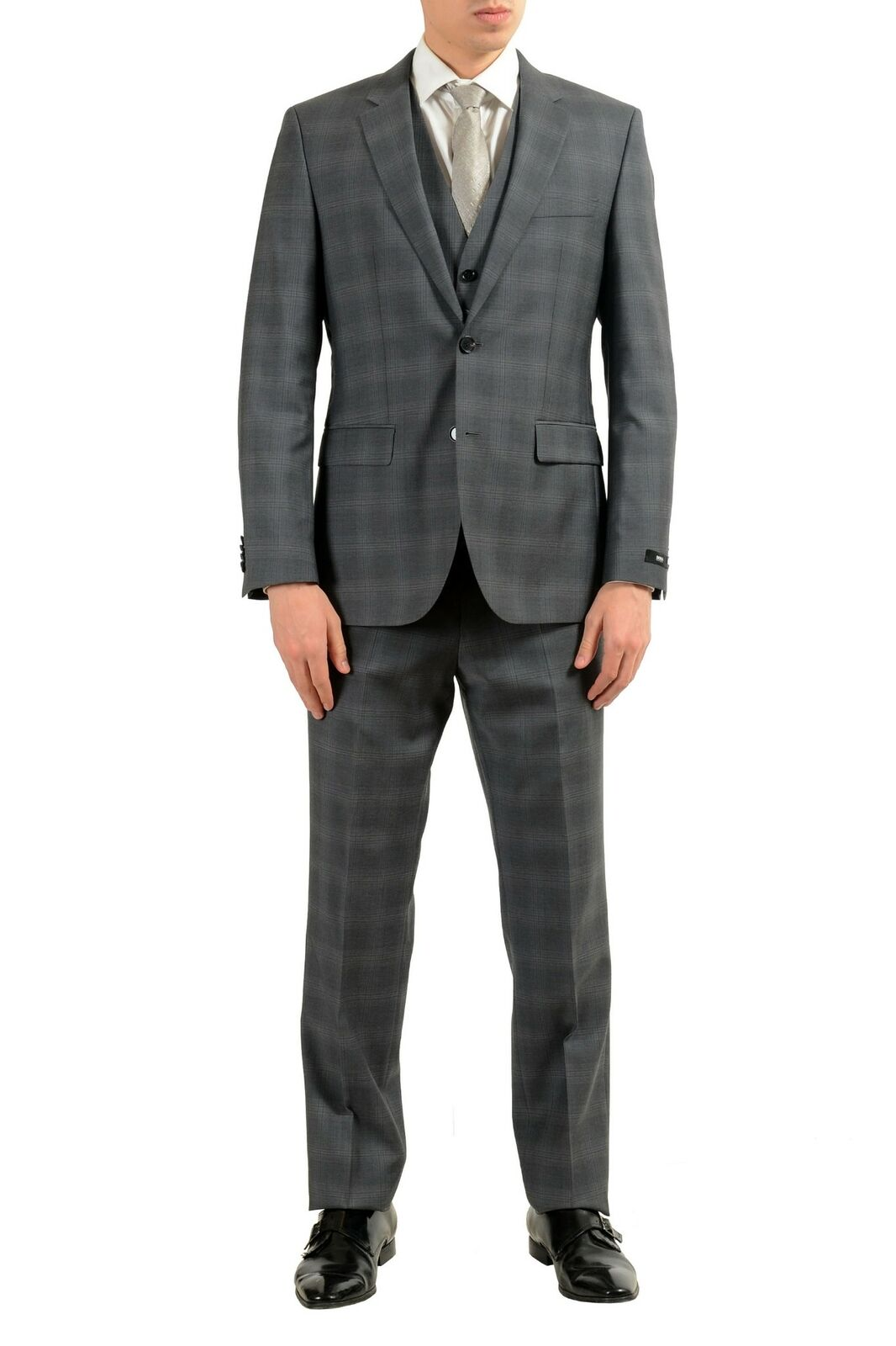 Hugo Boss  The Grand Central2WE  Men's 100% Wool Plaid Three Piece Suit