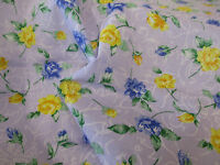 Lilac with Blue & Yellow Roses, Floral Polycotton Fabric.