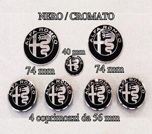 KIT-FREGIO-STEMMI-ALFA-ROMEO-MITO-GIULIETTA-147-156-159-LOGO-NERO-BLACK-56MM