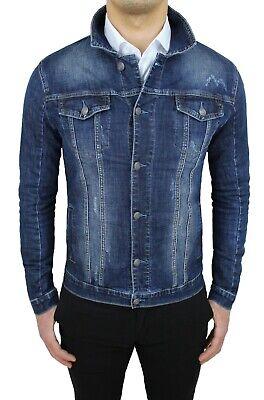 Giubbotto di Jeans uomo casual grigio cotone denim giubbino giacca slim fit