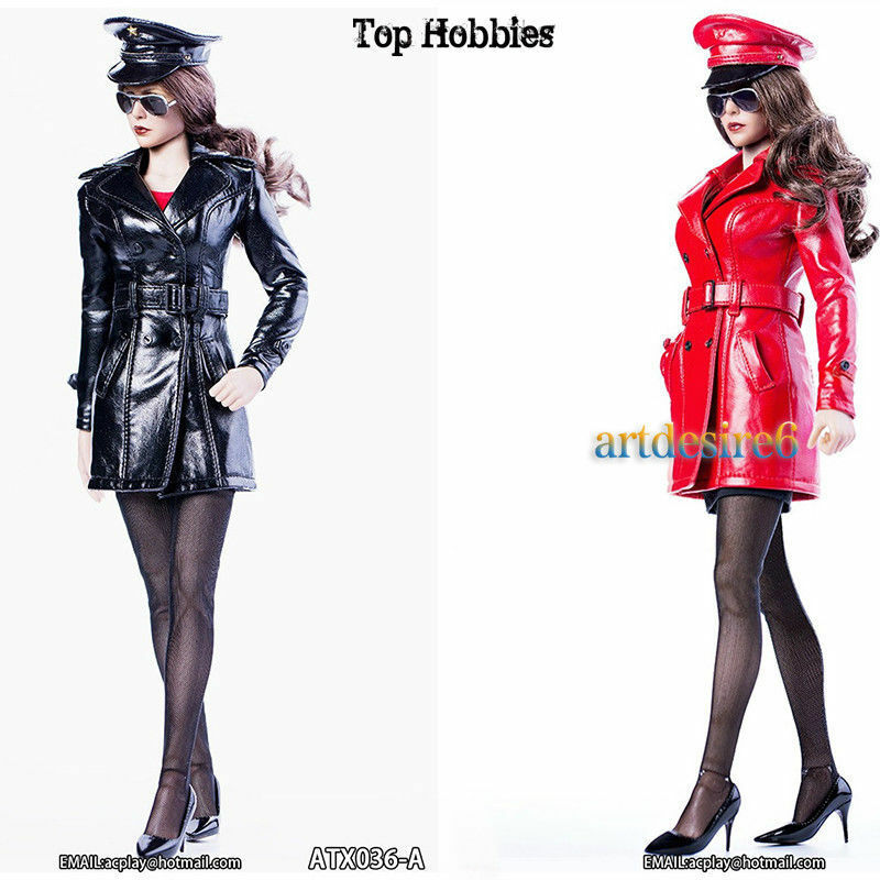 1 6 Female Plice Wind Long Leather Queen Costume & Hat & shoes Sun Glasses Suit
