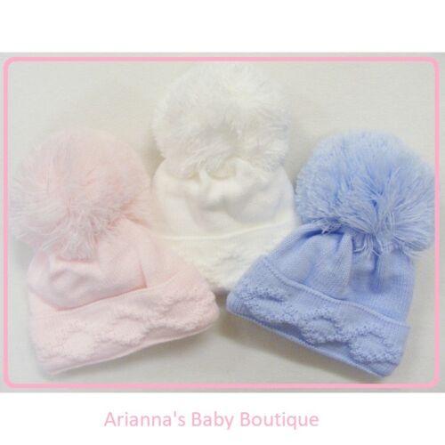KINDER BOUTIQUE-Enfiler Diamant Tricot Grand Pom baby chapeau bleu blanc rose