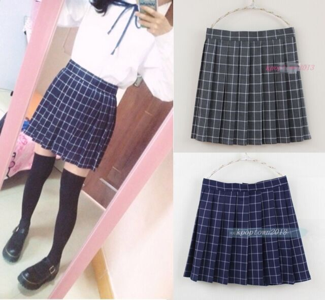 JK Uniform Japan School Girls Plaid Pleated Mini Skirt Newly Lolita Cos Costume