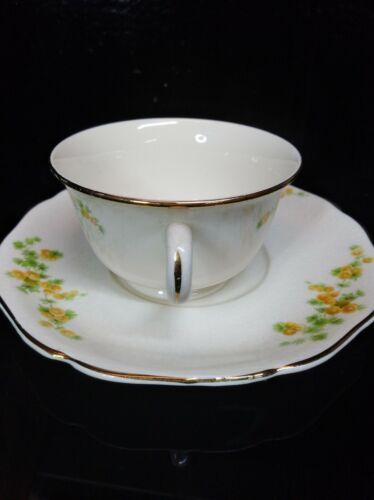 Antique Carrollton Porcelain China Cup Saucer 18kt Gold Trim