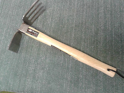 hand cultivator hoe sewing stainless steel wooden handle root chopper stone weed