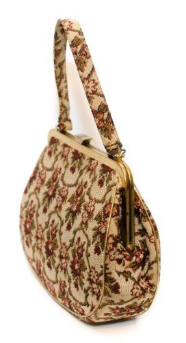 Vintage Cream Floral Tapestry Handbag Purse Mid Ce