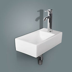 Bathroom Ceramic Vessel Sink Wall Mount Vanity Rectangle Basin Chrome Faucet