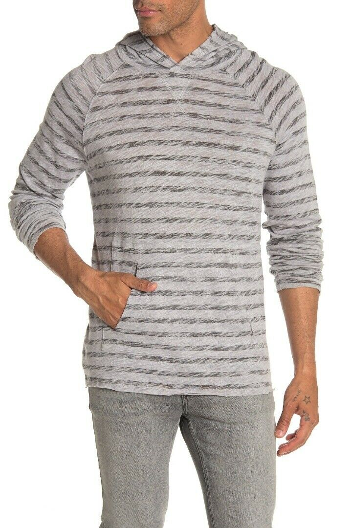NEW ATM GRAY W BLACK PAINTED STRIPED KNITTED PULLOVER HOODIE SIZE L