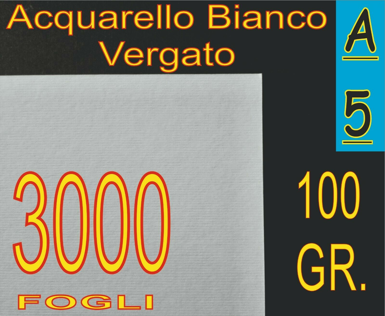 3000 FOGLI A5 CARTA 100GR GRIFO VERGATA RILIEVO BIANCA X STAMPANTI LASER INKJET