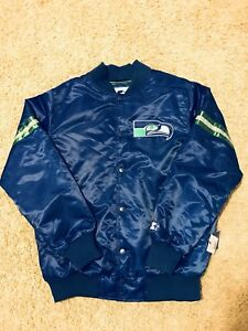 more photos b28a1 5c621 Details about NWT Seattle Seahawks Starter Jacket Royal Blue sonics  mariners vintage