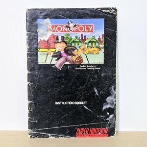 Monopoly SNES Super Nintendo Original Instruction Booklet Manual