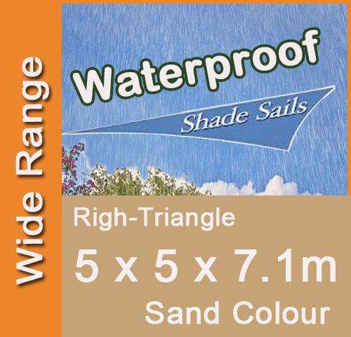 Waterproof Shade Sail Sand Colour Right Angle Triangle 5m x 5m x 7.1m, 5x5x7.1m