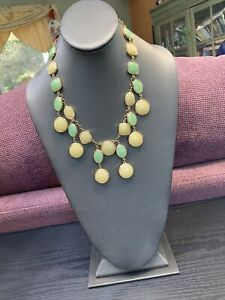 """Signed banana republic team Green cluster gold tone statement  18"""" ~ Necklace"""