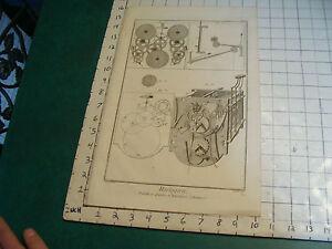 """Original engraving 1760's 10 1/2 x 16"""" PENDULE A QUARTS ET REPETITION ORDINAIRE"""