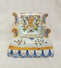 Silla Antigua Francesa Loza Victoriano de Enfermería para Casa de Muñecas Firmado