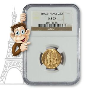 1897A-Gold-20-Franc-NGC-MS63-034-Lucky-034-Angel-Coin-10013