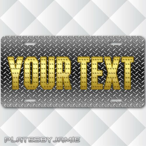 Your Text Name Personalized Custom License Plate Tag Silver DIAMOND PLATE Look