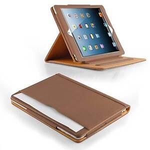 Business-Cover-fuer-iPad-Air-Etui-Smart-Schutz-Huelle-Tasche-Kunst-Leder-braun
