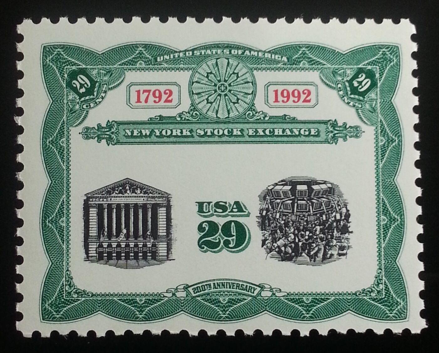 1992 29c New York Stock Exchange, Bicentennial Scott 26
