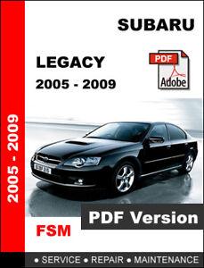 subaru legacy 2009 workshop service manual repair