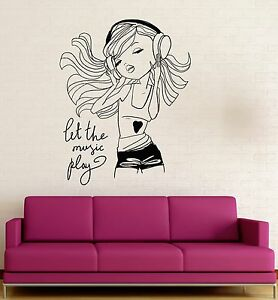 Image Is Loading Teen Girl Music Headphones Room Decoration Wall Stickers  Part 42