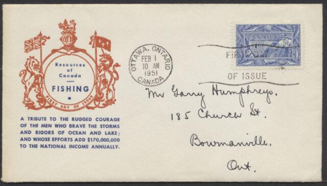 1951 #302 $1 Fishing Resources FDC, Jacobi Cachet, Ottawa