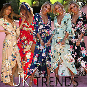 UK-Womens-Floral-Kimono-V-Plunge-Ladies-Maxi-Wrap-Holiday-Summer-Dress-Size-6-14