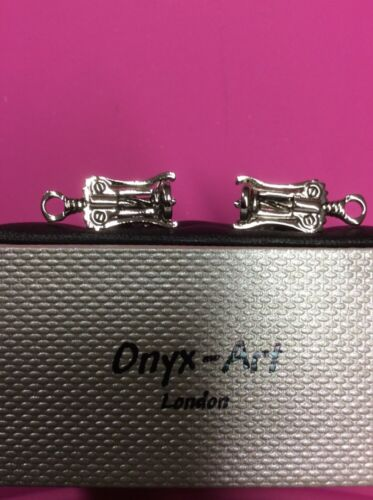 Onyx Art Cuff links NEW /& BOXED Corkscrew Cork Screw CK380