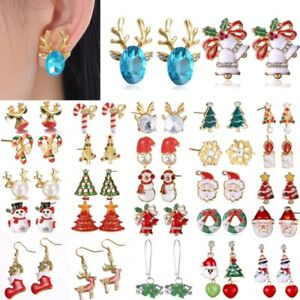 Christmas-Tree-Snowman-Deer-Bell-Ear-Stud-Hook-Earrings-Xmas-Party-Jewellery-Hot