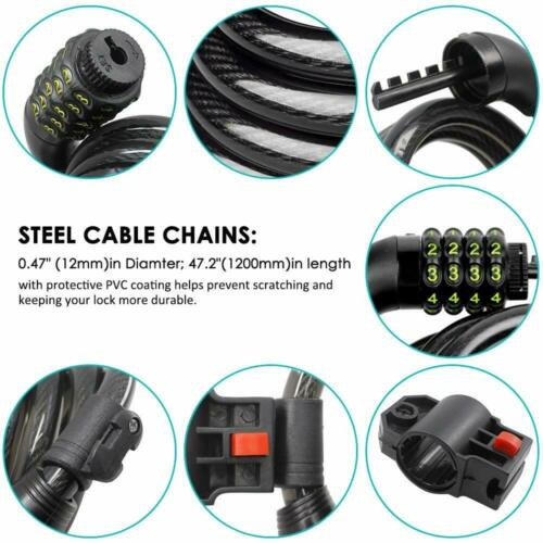 5-Digit Combination Bike Cable Lock with Mounting Bracket Security Bicycle Locks
