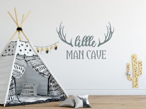 Details About Wall Decal Little Man Cave Deer Antlers Stickers Woodland Nursery Decor Nv272