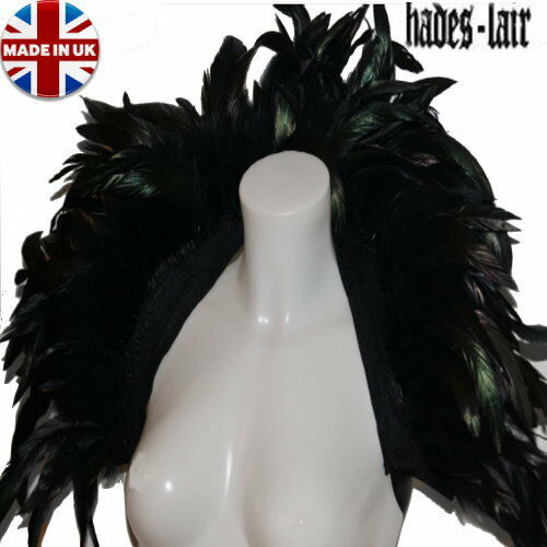BIG BLACK REAL FEATHER CAPE SHRUG SHOWGIRL DRAG QUEEN GOTH BOA COLLAR TOP WITCH