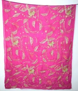 Vintage-Dupatta-Stole-Long-Silk-Chiffon-Pink-Scarves-Hand-Heavy-Zari-Beaded-Veil