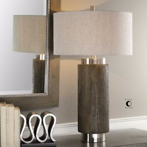New 33 driftwood finish resin table lamp linen shade brushed nickel image is loading new 33 034 driftwood finish resin table lamp aloadofball Gallery