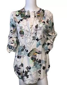 3-1-Phillip-Lim-Size-2-Silk-Ivory-Floral-Blouse-Top-1-4-Zip-Front