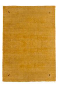 GABBEH-Uni-Tapis-tisse-a-la-main-100-laine-souple-d-039-etancheite-JAUNE-200x290cm