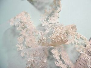 """VINTAGE 1950's EMBROIDERED NYLON NETTING LACE~ECRU~2""""wide~GREAT FOR DOLLS!"""