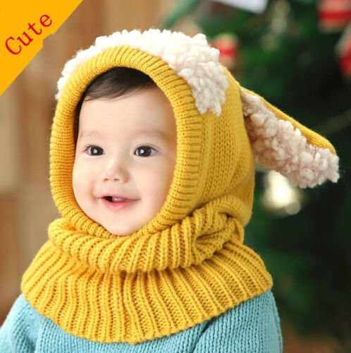 Winter Warm Baby Kinder Winter Strick Hut Beanie Mütze Rundschal Ohrschützer Neu
