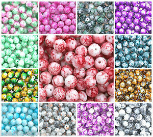 100-GLASS-MOTTLED-MARBLE-EFFECT-ROUND-BEADS-8mm-Beading-Crafts-x-Colours