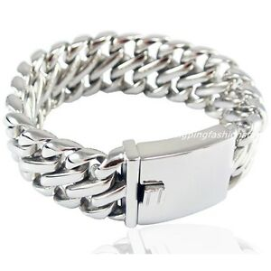 9-034-Heavy-Stainless-Steel-Silver-Cuban-Curb-Link-Chain-Cool-Men-039-s-Bracelet-Bangle