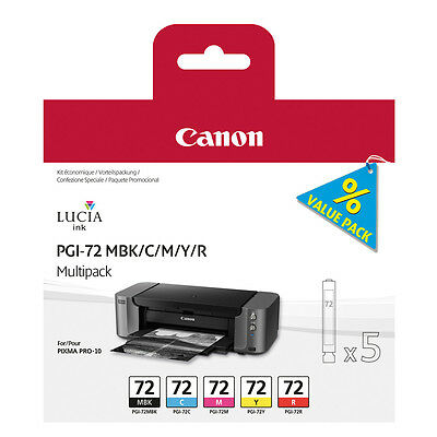 GENUINE OEM CANON PIXMA PGI-72 MBK/C/M/Y/R MULTIPACK OF 5 INK CARTRIDGES