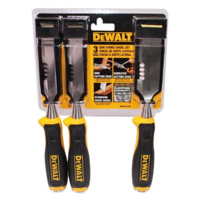 Dewalt Side Strike Chisel Set 3 Pack Chisels Woodworking Wood Plastic Hand Tool