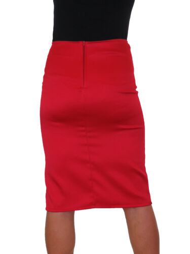 Front Thigh Split Midi Stretch Bodycon Pencil Skirt Red NEW 6-18