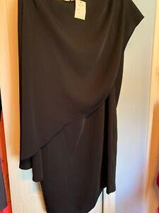 Trina-Turk-NWT-black-cocktail-dress-cape-one-shoulder-knee-length-size-small
