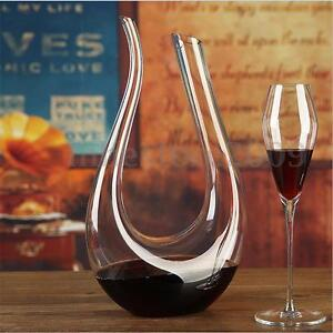 1-5L-Lead-free-U-shaped-Crystal-Glass-Horn-Wine-Decanter-Wine-Pourer-Container