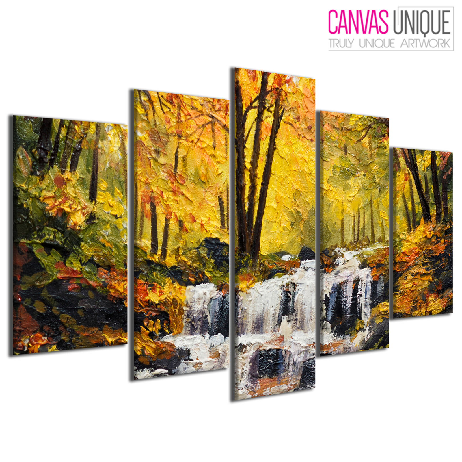 PC675 Autumn Forest Water Painting Scenic Multi Frame Canvas Wall Art Print