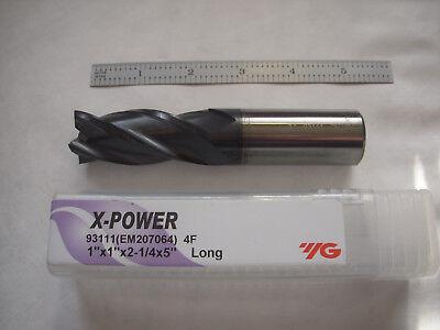"""1 x 1/"""" Shank 4F Cobalt Steel Center Cutting Single End Mill Long"""