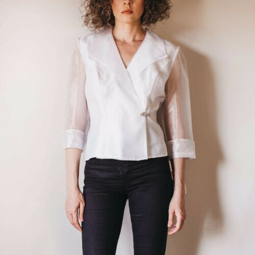 Vintage Organza Gauzy Over-sized Sleeve Pure White